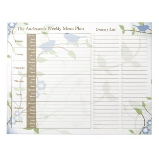 Song Birds Floral Weekly Personalized Meal Planner Scratch Pads