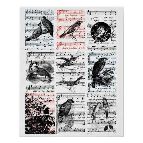 Song Birds Sheet Music Vintage Ephemera Art