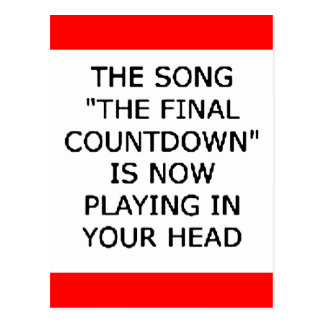 song final countdown now playing your head postcard
