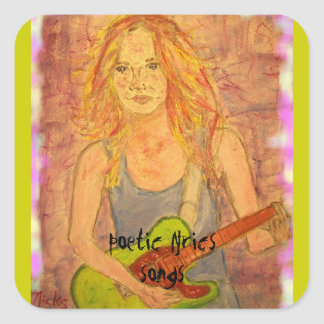 song girl art square sticker