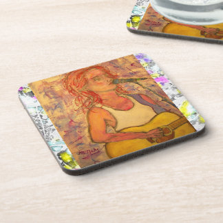 song girl drip painting coaster
