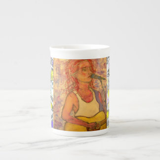 song girl drip painting tea cup