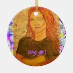 song girl paint drip christmas tree ornament