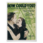 Song How could you? Vintage Music Sheet Cover Poster