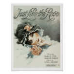 Song Just Like the Rose Vintage Music Sheet Cover Poster
