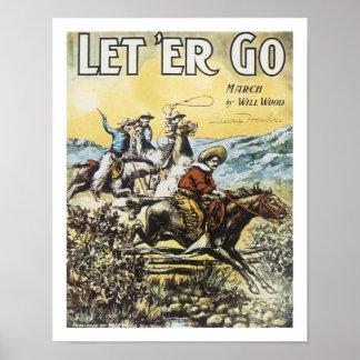 Song Let 'Er Go Vintage Art Poster