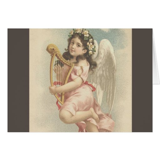 Song -Little Girl with Harp Card
