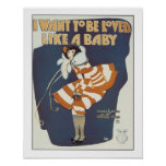 Song Loved Like a Baby Vintage Music Sheet Cover Poster