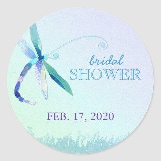 Song of Blue Dragonfly Bridal Shower Stickers