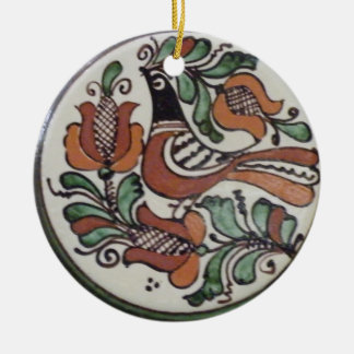 Song of Life - Folk Art Bird Double-Sided Ceramic Round Christmas Ornament