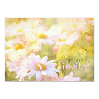Song of Spring I - Lovely Pale Pink Daisies Asters 5x7 Paper Invitation Card