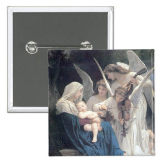 Song of the angels antique painting baby religion button