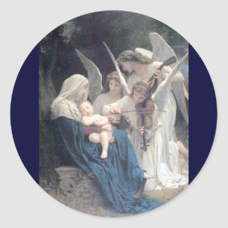 Song of the angels antique painting baby religion round sticker