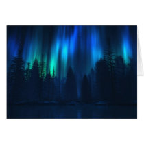 aurora, northern, lights, blue, forest, winter, water, Card with custom graphic design