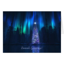 blue christmas, holiday, wolves, aurora, Card with custom graphic design