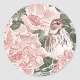 Song Sparrow and Pink Roses Flower Painting Classic Round Sticker