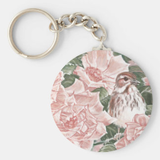 Song Sparrow and Pink Roses Flower Painting Keychain