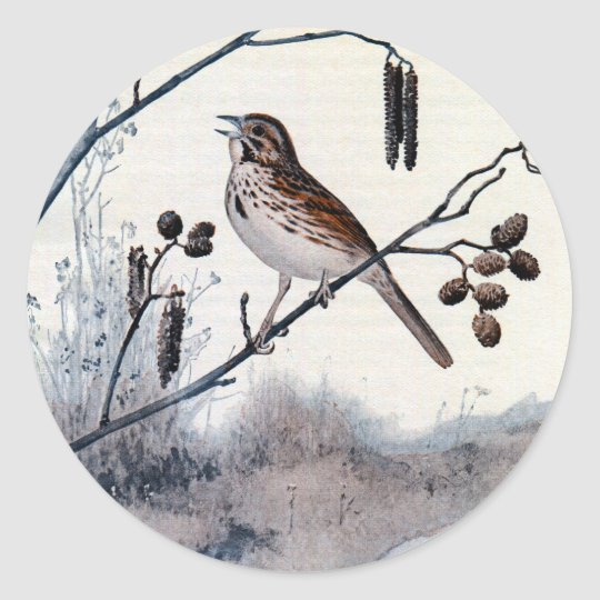 Song Sparrows in the Spring Classic Round Sticker