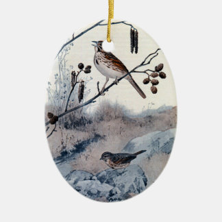 Song Sparrows in the Spring Double-Sided Oval Ceramic Christmas Ornament