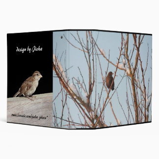 song thrush in bare tree 3 ring binder
