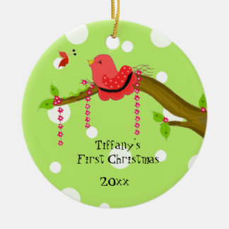 Songbird Baby's First Christmas Ceramic Ornament