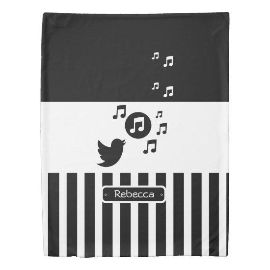 Songbird Black White Personalized Stripes Duvet Cover