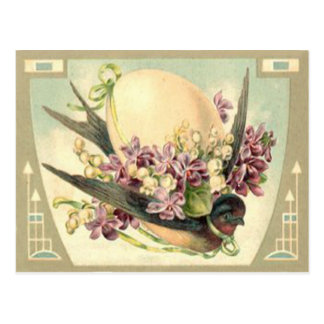 Songbird Easter Egg Crocus Lily Of The Valley Postcard