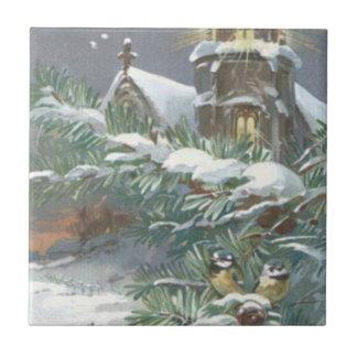 Songbird Evergreen Church Christian Cross Snow Ceramic Tile