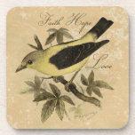 "Songbird Faith Hope Love Cork Coaster Set (6)<br><div class=""desc"">This set of 6 cork coasters has a vintage songbird with the words faith,  hope,  love in cursive script. The bird is a yellow finch.</div>"