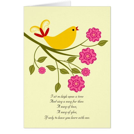 Songbird I Love You, I Miss You Poetry Card