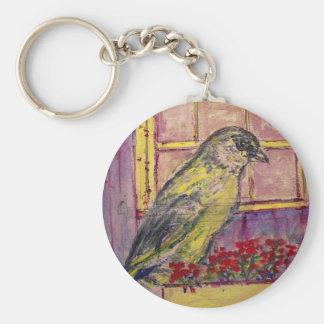 songbird in window box sketch keychain