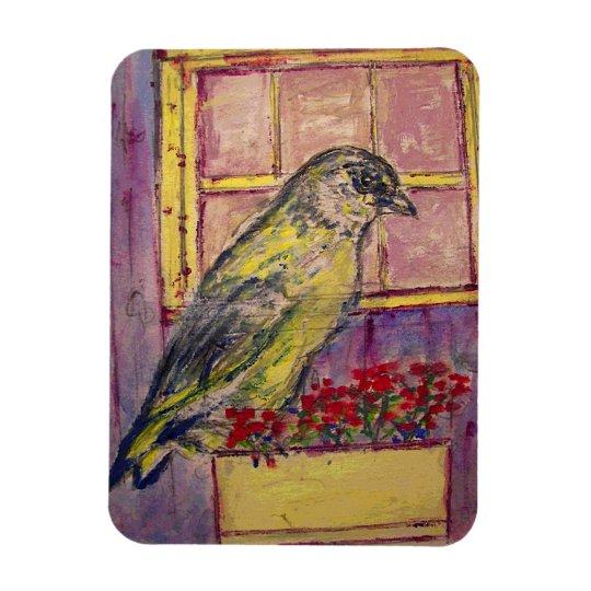 songbird in window box sketch magnet