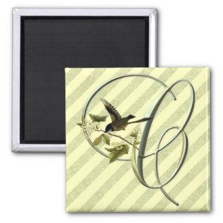 Songbird Initial C 2 Inch Square Magnet