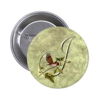 Songbird Initial J Pinback Buttons