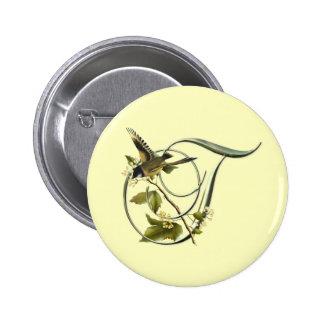 Songbird Initial T Pinback Buttons