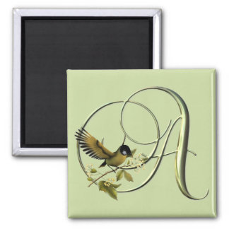 Songbird Initials A 2 Inch Square Magnet