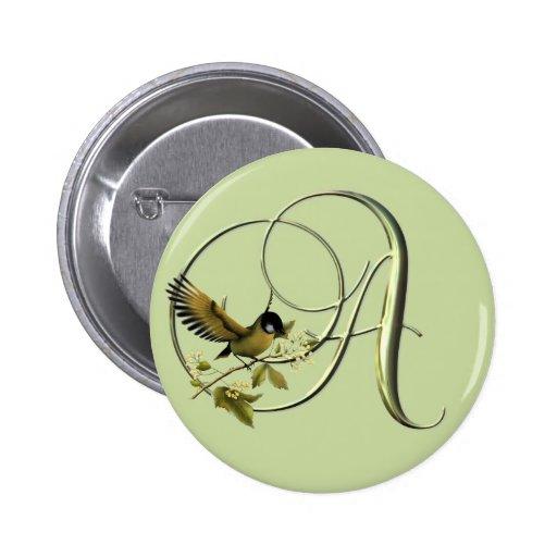 Songbird Initials A Pinback Button