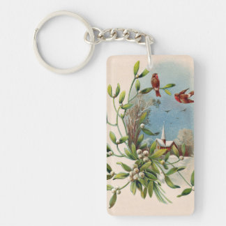 Songbird Mistletoe Church Christian Cross Keychain