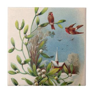Songbird Mistletoe Church Christian Cross Tile