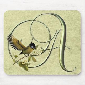 Songbird Monogram A Mouse Pad