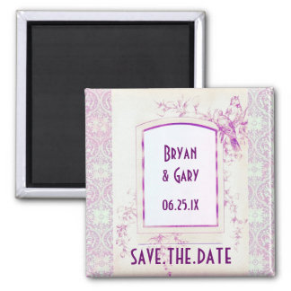 Songbird Shabby Chic WEDDING Save The Date 2 Inch Square Magnet