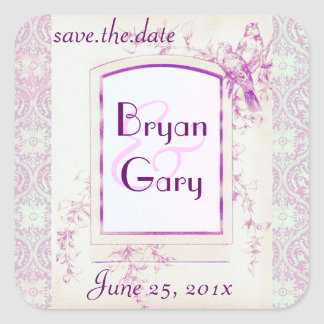 Songbird Shabby Chic WEDDING Save The Date Square Sticker