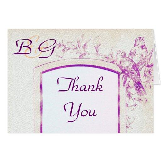 Songbird Shabby Chic WEDDING Thank-You Card