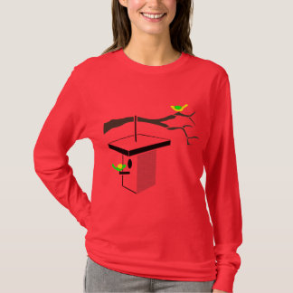 Songbirds on Tree Branch and Birdhouse T-Shirt