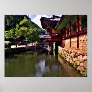 Songgwangsa Temple Bridge, South Korea Poster