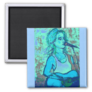 songstress screenprint look 2 inch square magnet