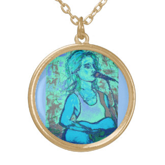 songstress screenprint look gold plated necklace