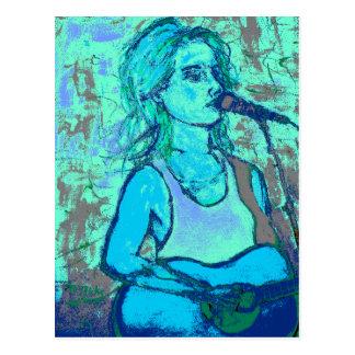 songstress screenprint look postcard