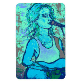 songstress screenprint look rectangular photo magnet
