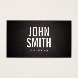Songwriter Bold Text Classy Leather Business Card